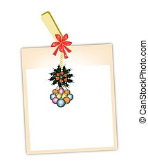Blank Photos with Christmas Bauble Hanging on Clothesline