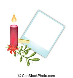 Blank Photos with Mistletoe and Christmas Candle -...