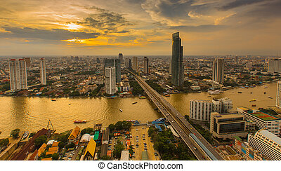 Sunset of Bangkok City