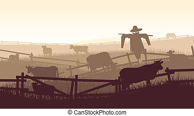 Illustration of farm pets. - Horizontal vector illustration...