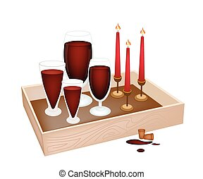 Candles with Red Wine in Wooden Container