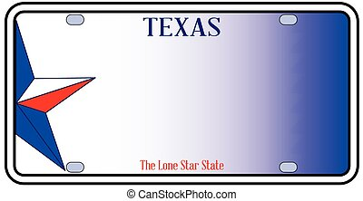 Texas License Plate in red white and blue with Lone Star...