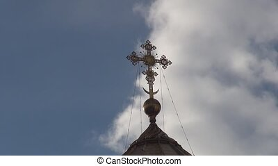 Orthodox Church of timelaps the sky clouds - The Cathedral...