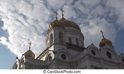 Orthodox Church of timelaps the sky clouds