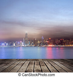 night scenes of Victoria harbor - City night scenes of...