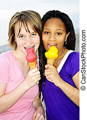 Girls having ice cream