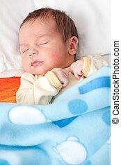 nowy, urodzony, niemowlę, spanie