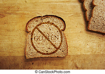 Gluten free diet - Slice of bread with Gluten text - Gluten...