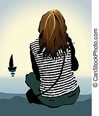 lonely girl - The lonely girl looking at the sea. Vector...