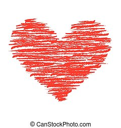 Crayon Heart - A heart shape filled with red crayon strokes