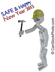 New Year Job Safety Image with Robot Builder