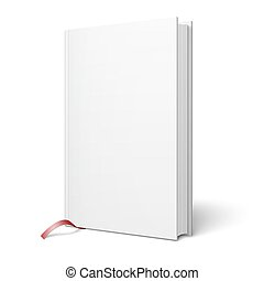 Blank vertical book with bookmark template. - Blank vertical...