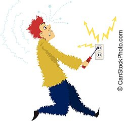 Electrocuted - Cartoon man gets electrocuted sticking a...