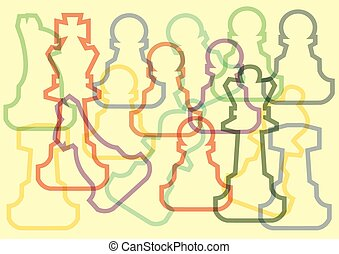 Different color chess piece, abstract illustration