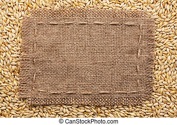 Frame of burlap lying on a barley background, with place for...