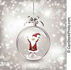 Silver of empty snowglobe with Santa Claus