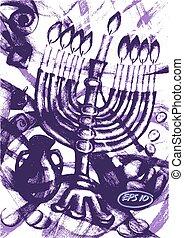 Jewish holiday of Hanukkah - Vector graphic, artistic,...