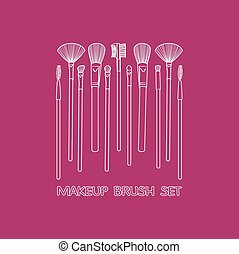 Makeup Brush Set painted by hand on a burgundy background