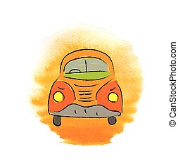 beetle car, hand-drawn vector illustration - cartoon beetle...