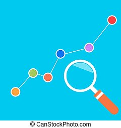 Market analysts, growth chart. Vector illustration.