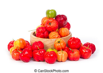 Barbados cherry in wooden blow
