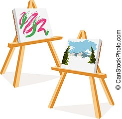 Artist Easels - An Illustration of two easels with colorful...