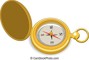 Compass - An Illustration of a gold vintage pocket compass