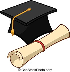 Graduation - An Illustration of a graduation cap and diploma