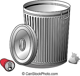 Trash Can - An Illustration of a silver Trash can and trash