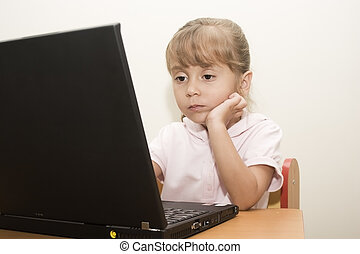 Beautiful caucasian girl learning with laptop - Portrait of...