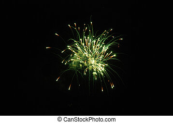 Canada Day fireworks - green. - Festive fireworks show on...