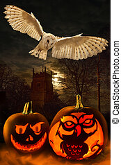 Halloween - Spooky Pumpkins - Owl - Halloween - the night of...