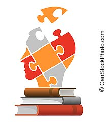 Books education concept - Three books and puzzle head...
