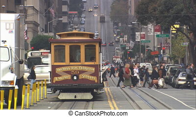 California Street SF XLS - LS down California Street in San...