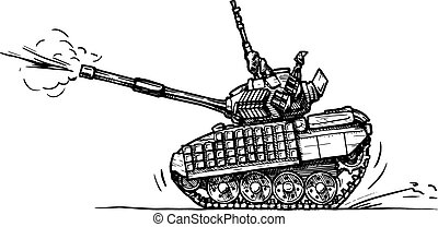 tank in comics style - Vector drawing of heavy tank stylized...
