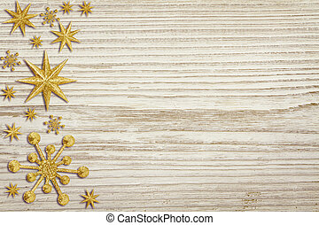Christmas Wooden Background, Snow Stars Decoration, White...