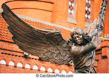 Statue Of Archangel Michael With Outstretched Wings Before...