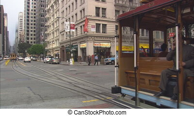 California Street SF Cable Car Passing - WS of California...