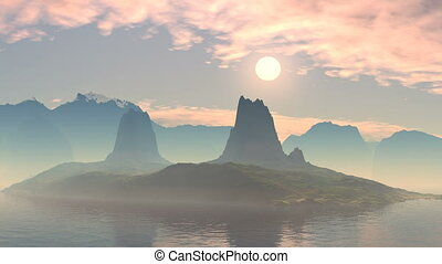 Red sunset over a mountain lake - Among the mountain lake is...