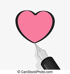 Heart Pen - Fountain pen drawing outline of pink heart