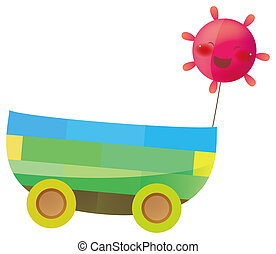 sun take a toys trolley in a white background
