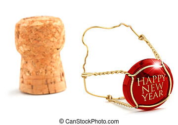 Best of luck! - close up of champagne cork isolated on white...