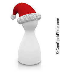 Santa's character - pawn with santa's hat isolated on white...
