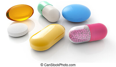 pills and capsules - assorted pills and capsules on white...