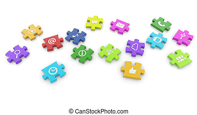 social media puzzle - set of colorful jigsaw pieces on white...