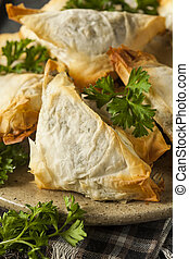 Homemade Greek Spanakopita Pastry with Feta and Spinach