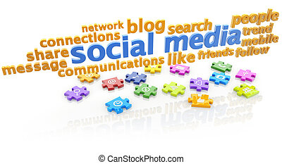 social media - keywords of social media and puzzle pieces on...