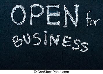概念, ビジネス, 成功した, 黒板, 印, チョーク, メッセージ, 開いた, 白, 手書き