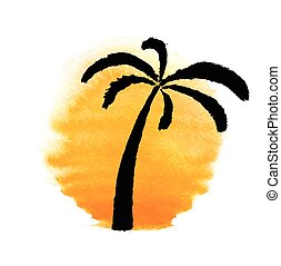 Silhouette of palm trees against the sun. Vector.