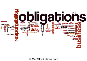 Obligations word cloud concept